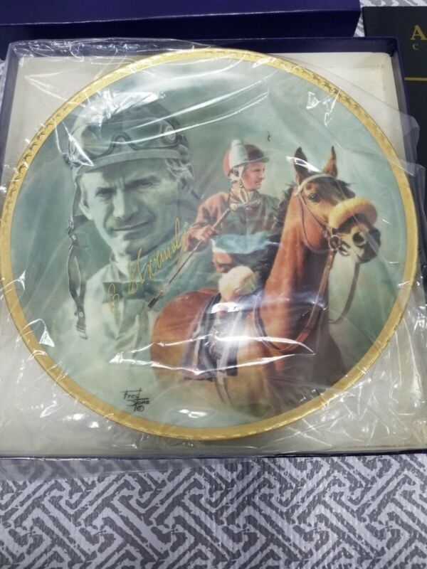 "Fred Stone Old Warriors Horse  Plate #348 10"" Signed Bill Shoemaker W Catalogue"