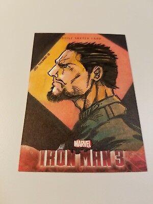 2013 Marvel Iron Man 3 Sketch Card! Tony Stark profile by Jed Thomas! RARE 1/1!