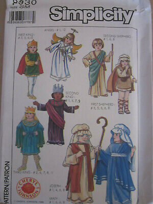 Toddler Nativity Costumes (Simplicity 8930 Nativity Joseph Mary Kings Shepherds PATTERN Size S 2-4)