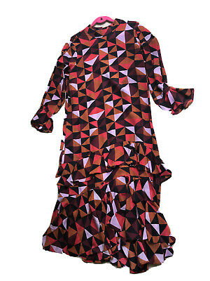 ISA ARFEN Label Mix Next Geometric Silk Blend Printed Midi Ruffle Dress Size 16