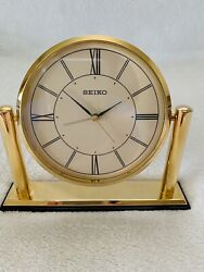 Seiko Alarm Clock Excellent Condition analog Gold tone Working