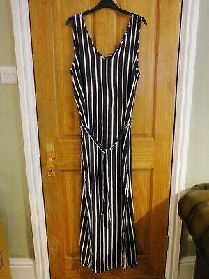 JACQUELINE DE YONG Navy & White Stripe Maxi Dress - Size 42