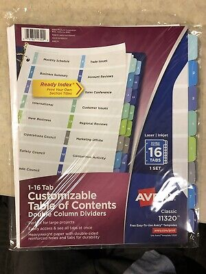 Avery Ready Index Customizable Table of Contents Double Column Dividers - Ready Index Table