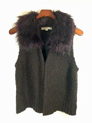 Ann Taylor Wool & Rabbit Hair Sleeveless Vest w/Clasp Faux Fur Collar Sz LP for sale  Whittier