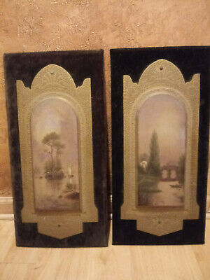 2 Original Hand Painted Art on Board Poulton's Wall Panels 1882 Thousand Isles 2 Painted Wall Panels