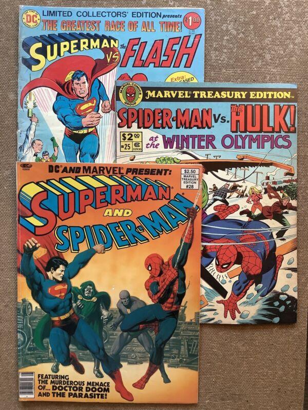 SUPER-HERO TEAM-UP Treasury Lot (DC/Marvel 1976-80) Superman Flash Spidey Hulk!
