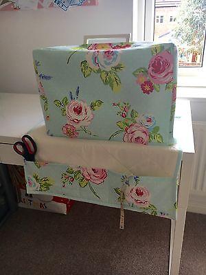 ❤️Clarke & Clarke❤️English Rose Seafoam Shabby Chic Sewing Machine Dust Cover