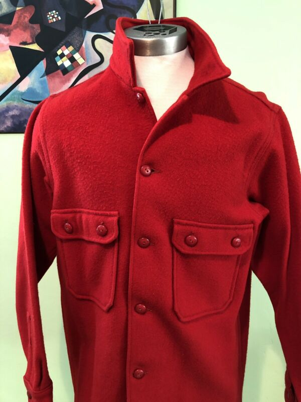 Vintage Official Boy Scouts Of America Red Wool Jacket Shirt