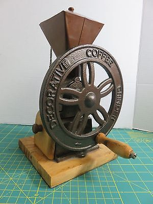 Unique Cast Iron Hand Crank Wheel Decorative Coffee Grinder Mill Box Wood Base