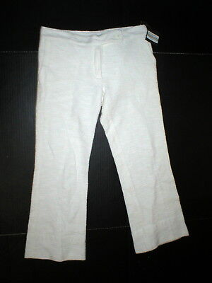 New NWT Authentic Designer Womens 2 Jo No Fui White Crop Pants 38 IT Italy 3/4