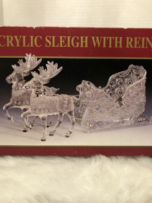 "Vintage 6"" Acrylic Sleigh with Reindeer"