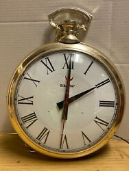 Gibraltar Large Pocket Watch Clock Working (Needs Washer)