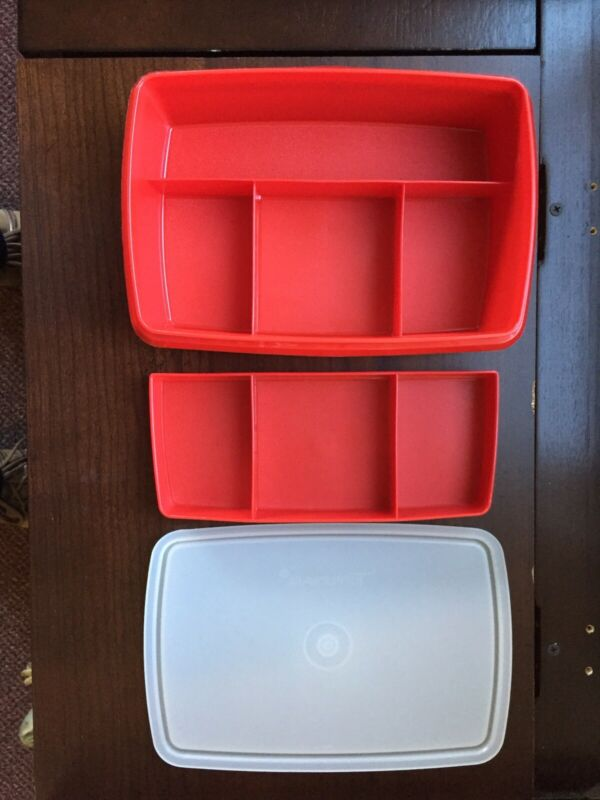 Tupperware Stow N Go Divided Container Red Tuppercraft 767-1