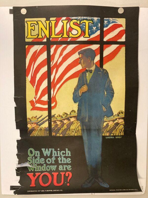 Vintage World War I 1917 US Propaganda Poster Enlist! Extremely Rare!