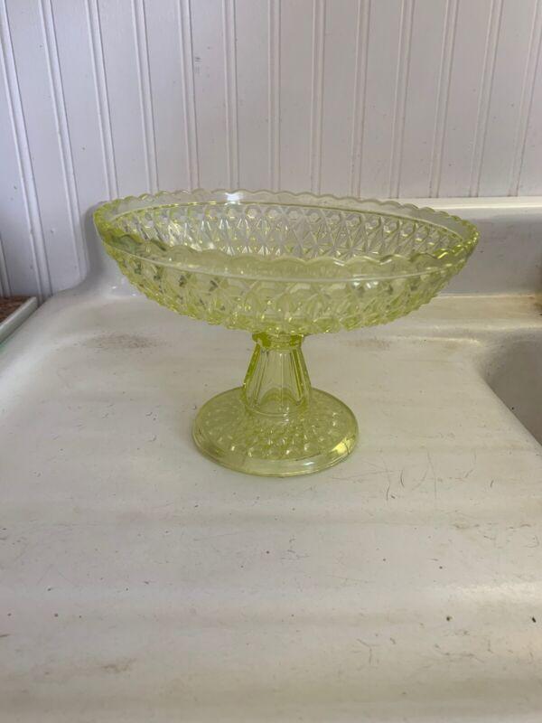 Antique Compote Pedestal Dish, Pressed Vaseline Diamond Design