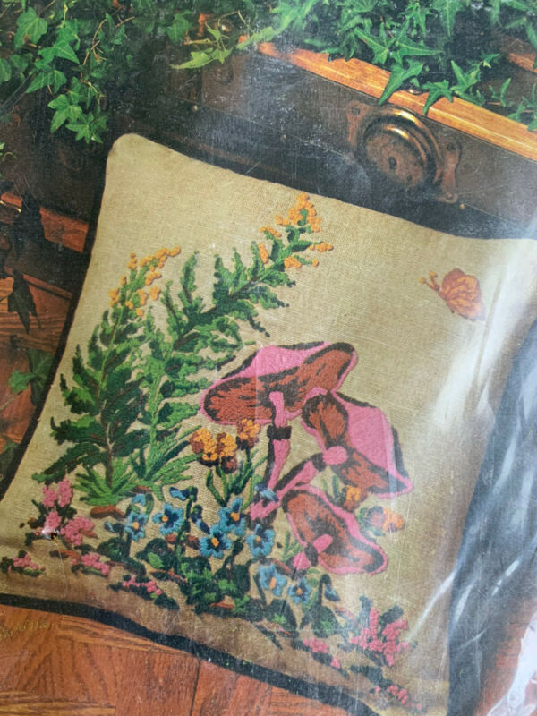 Wild Mushrooms Ferns Butterfly Vintage Crewel Embroidery Pillow Kit NIP 14x14