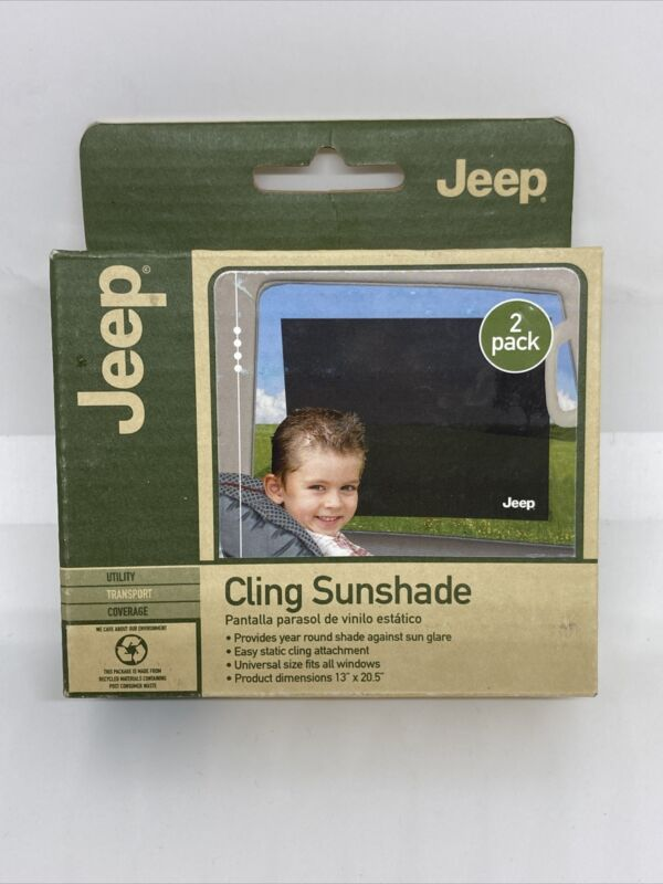 JEEP BRAND Car Sun Shade Static Cling Black UV Protection 2 PACK FREE SHIP
