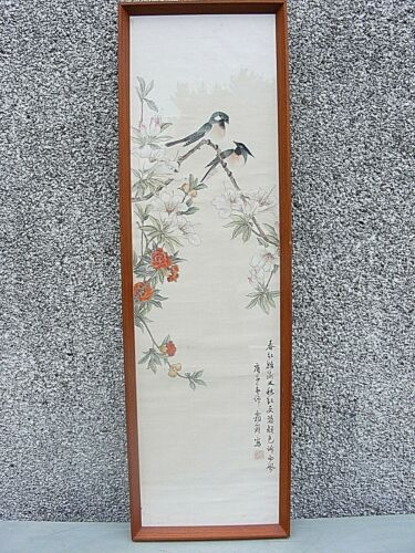 CHINESE EXPORT WATERCOLOR ON SILK PAINTING SIGNED