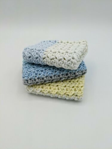 Crocheted Dish Cloths - Set of 3 - Pastel Explosion - Handmade Soft 100% Cotton