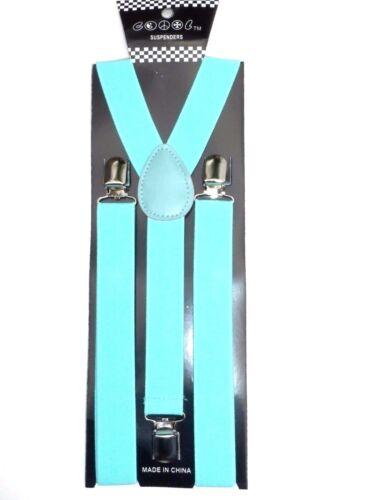 New Teal Turquoise Mint Green Clip-on Suspenders Elastic  Adjustable Suspenders