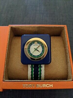 BRAND NEW TORY BURCH TBW3016 THE IZZIE GREEN BLUE NYLON SQUARE WOMEN'S WATCH