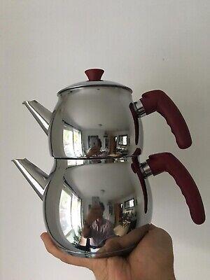 Traditional Turkish Tea Pot Stainless Steel Caydanlik Mini - UK free -