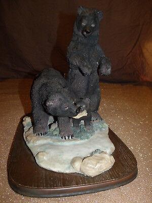 RARE Large Kodiak Grizzly Black Bear Family Feeding at River Wildlife Art Statue