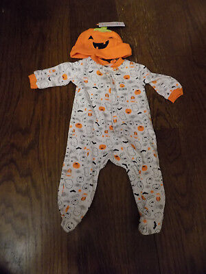 Baby NB First Halloween Outfit White Orange Ghost Owl Sleeper Pumpkin Hat Set](Baby Pumpkin Outfit)