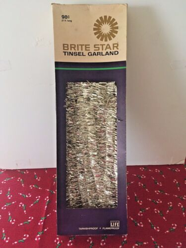 Vintage Christmas Brite Star Tinsel Garland New in Package Silver 21 Feet
