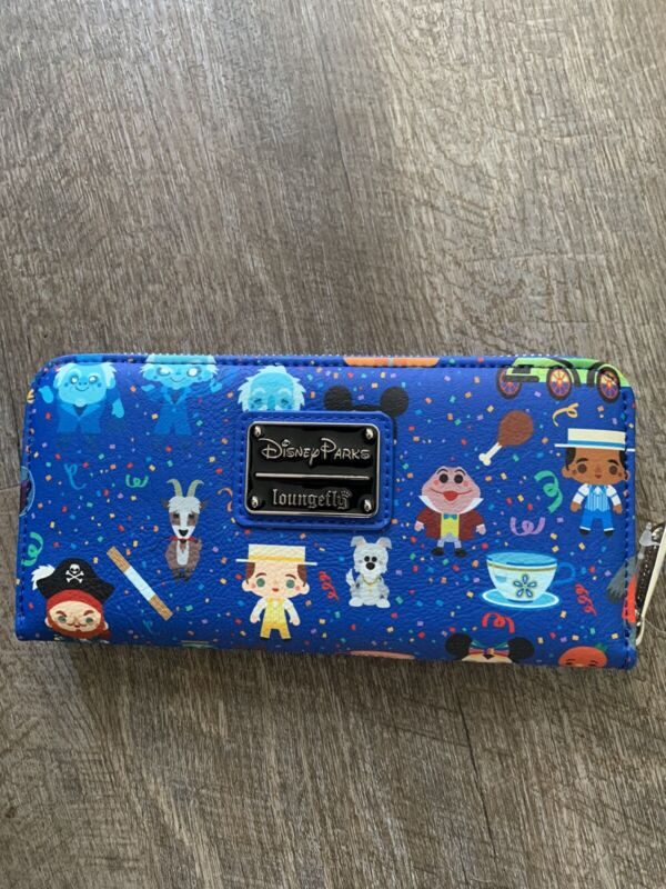 Disney Parks Loungefly Icons Attractions Characters Wallet Zip-Around Actual NEW