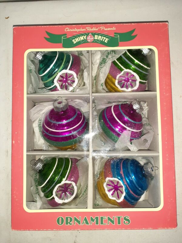 Radko Shiny Brite 6 Glass Christmas Ornaments Vintage 1940s Style Blue Green
