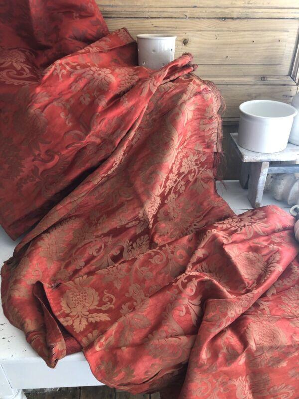 Antique French LONG DAMASK SILK fabric panel c1900