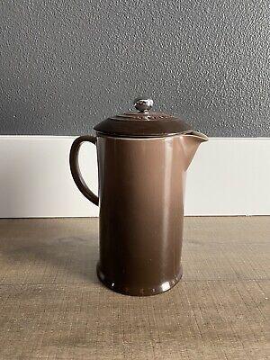 Le Creuset Cherry Red French Press Coffee Pot Stoneware 27 Oz