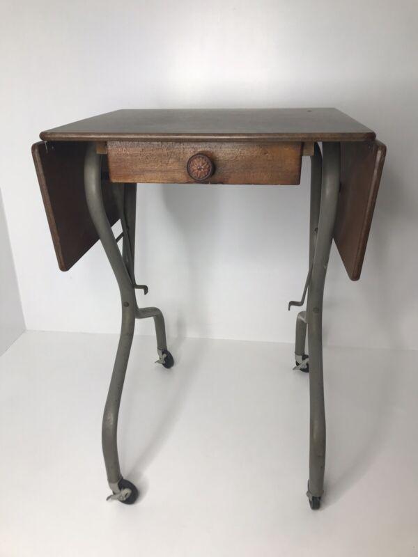 Antique Typewriter Table/Stand~Steel Legs/Wood Top~Castors~Flip up Sides~1950