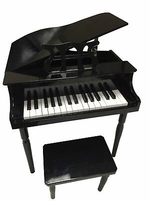 NEW CHILD'S PIANO BABY GRAND KIDS W / BENCH TOY (BLACK)