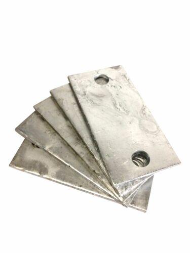 "Steel Base Plates, Heavy Duty, 3""x6""x1/4"" Rectangular, Galvanized (Bundle of x5)"