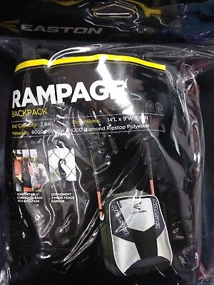 EASTON Rampage Black Backpack Bat Bag Baseball Softball 2 Bats Pack in it. New!