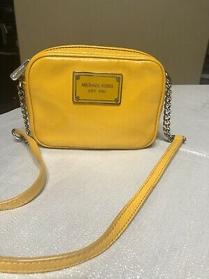 MICHAEL KORS SMALL PATENT LEATHER CROSSBODY PURSE ORANGE