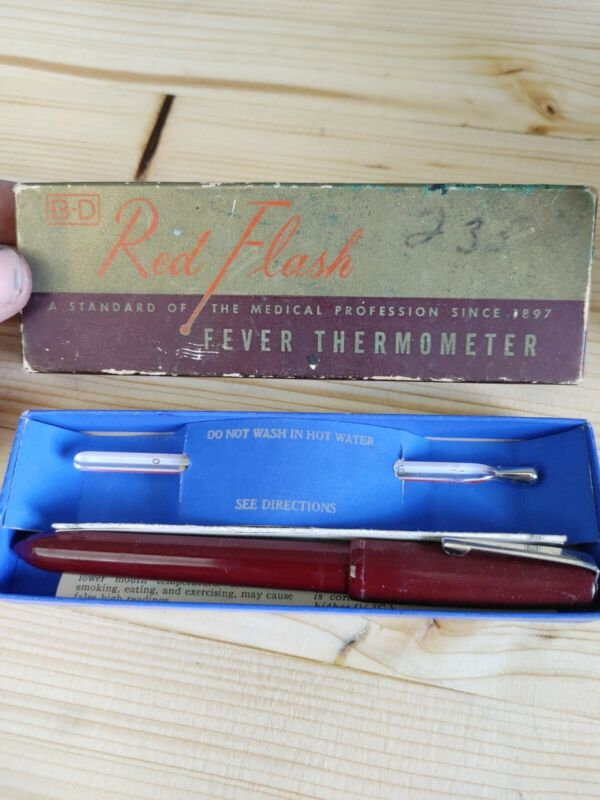 Vintage B-D Red Flash Fever Thermometer New In Box W/Paper Work