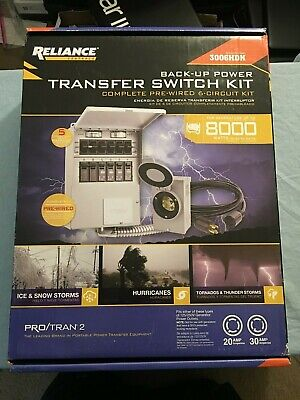 New Reliance Controls 3006hdk 6-circuit Generator Power Transfer Switch Kit