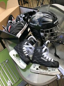 Kids hockey skates and helmet never used new