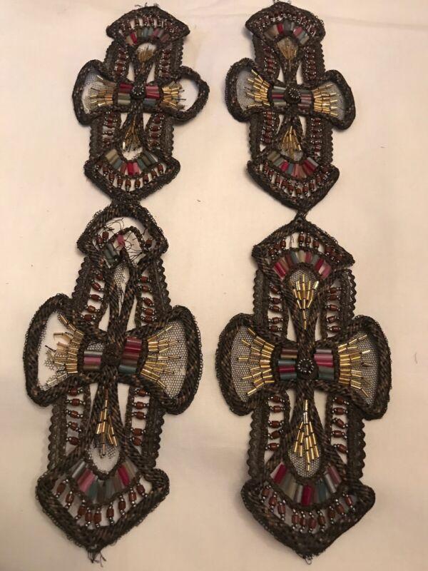 Pair Antique Art Deco Glass Beads Embroidered Metallic Cord Trim Dress Panels