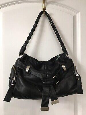 B Makowsky Women's Soft Black Leather Silver Hardware Satchel Handbag Medium
