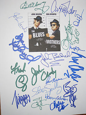 The Blues Brothers Signed Script X18 John Belushi Aykroyd Landis Candy reprint