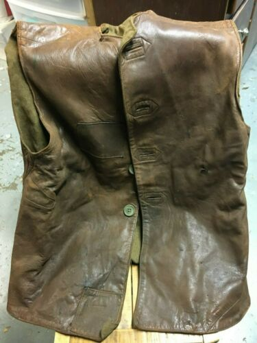 WW2 British Leather Jerkin - 1941 Dated Original - Large Size