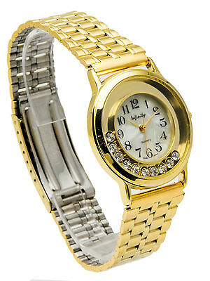 Gold Tone Floating Crystal Watch - INFINITY:WOMENS GOLD TONE METAL BAND FLOATING STONES CASE, ANALOG QUARTZ WATCH
