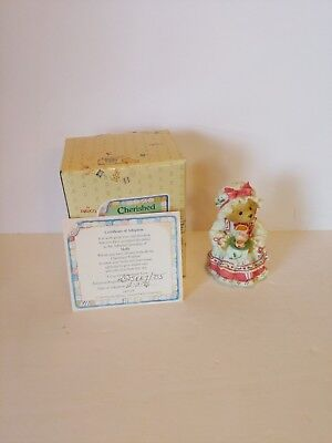 Cherished Teddies 14119 Holly A Cup of Homemade Love Girl Tray Hot Cocoa 1995