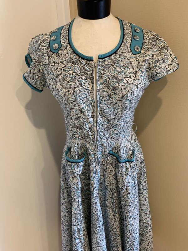 "Vintage Loralyn 1950's Blue And Grey Day Dress Bust 38"" Waist 27"" Sz Med"