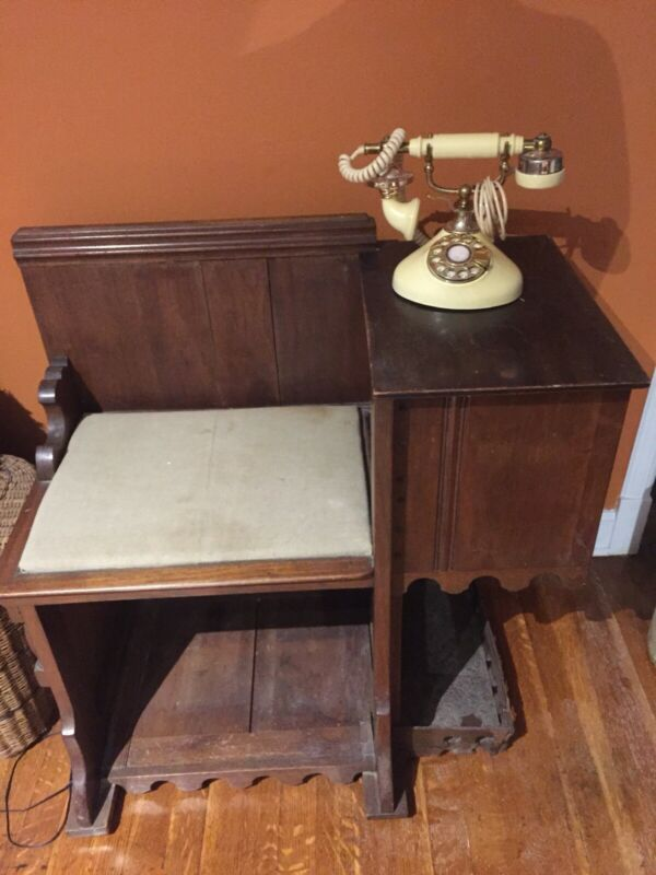 Unique Antique/Vintage Carved Wood Gossip Telephone Table Bench Chair