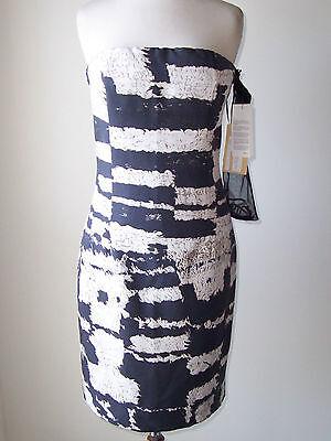 GIAMBATTISTA VALLI Black Ivory Silk Print Strapless Bustier Dress 46 10